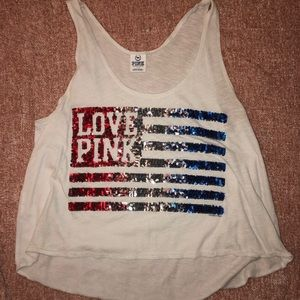 Pink sequin American Flag tank